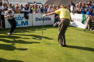 08-09-14 European Tour 2014, KLM Open, Kennemer G&CC, Zandvoort, The Netherlands. 11-14 Sep. Miguel Angel Jimenez of Spain and Joost Luiten stretching during 'The Rematch'..